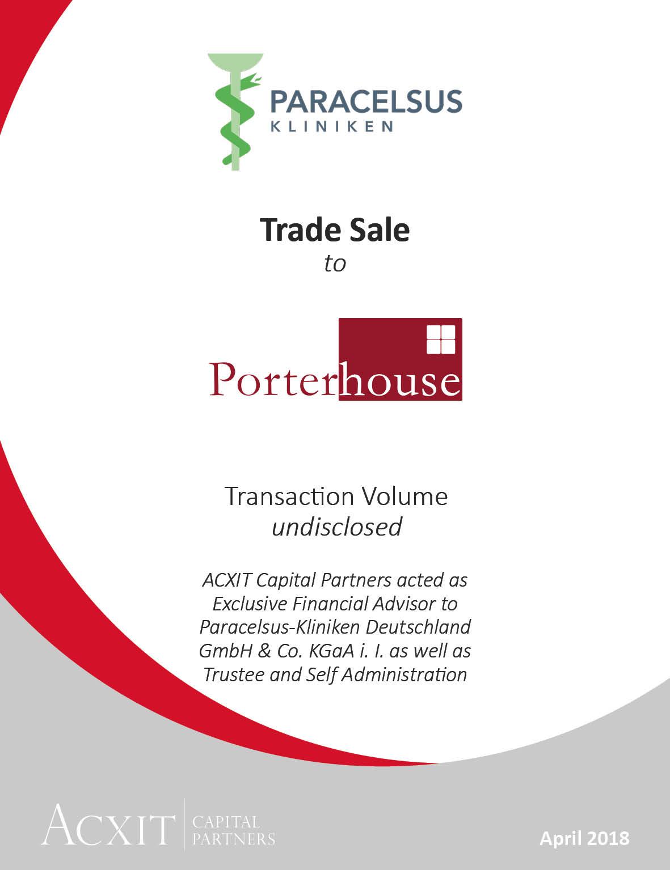 ACXIT berät exklusiv den erfolgreichen Verkauf von Paracelsus an die Beteiligungsholding Porterhouse